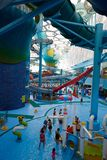 Panorama view of water park, summer time Stock Images