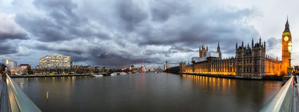 Panorama of the view from Westminster Bridge Royalty Free Stock Photo