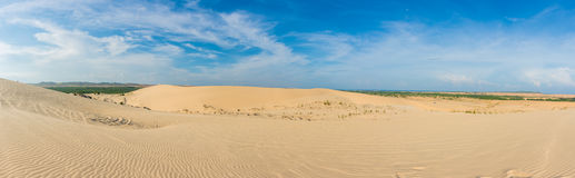Panorama view. White sand dunes at, Mui Ne, Vietnam.  Royalty Free Stock Images