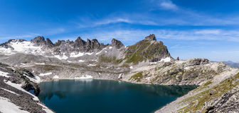 Panorama view of Wildsee (lake) near Pizol Stock Photography