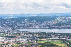 Panorama view of Zurich city and lake on  Uetliberg Stock Photos