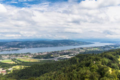 Panorama view of Zurich lake on  Uetliberg Stock Images