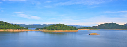 Panorama Views over the reservoir Kaengkrachan dam Royalty Free Stock Images