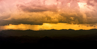 Panorama viewscape with orange sky and Mountain View in chiangmai thailand Stock Photography
