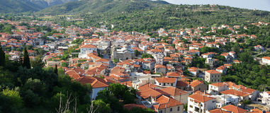 Panorama of a village. In Evia, Greece Stock Image