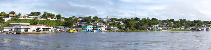 Panorama of a village on the Amazon River in Brazil Stock Image