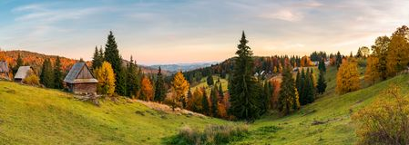 Panorama of village in Apuseni mountains. Beautiful autumn landscape at sunset. mixed forest in red foliage. wonderful rural countryside of Romania stock photography