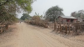 Panorama of the village in Bagan area stock video footage