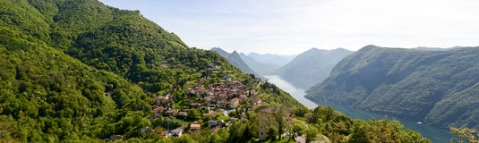 Panorama at the village of Bre over lake Lugano Stock Photo