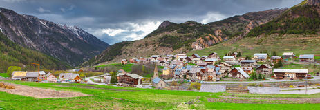 Panorama of the village Cervieres in early spring Stock Photo