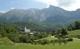Panorama with village Drezniske Ravne below the Krn mountain in Julian Alps in Slovenia Stock Photography