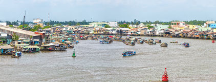 Panorama village floating market on Mekong river junction stock photography