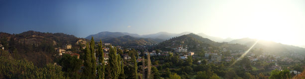 Panorama of the village of kakopetria, cyprus Stock Photo