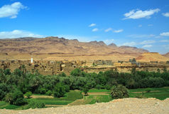 Panorama of a village among Moroccan hills Royalty Free Stock Photos