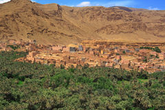 Panorama of a village among Moroccan hills Stock Image