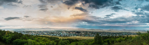 Panorama of the village from the mountain at dusk. City of Baymak in the Republic of Bashkortostan Stock Photo