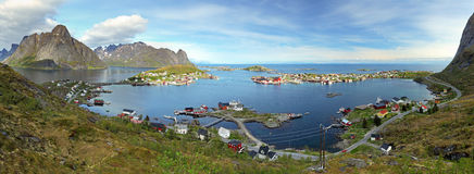 Panorama of village in Norway stock photography