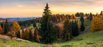 Panorama of village outskirts in autumn. Lovely landscape in mountains at sunset with gorgeous sky Stock Photos