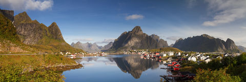 Panorama of the village of Reine Stock Image