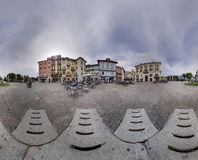Panorama village square flagging cloudy sky ball hole around Royalty Free Stock Image