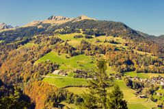 Panorama of the village of Vättis and bridge against the background of the Swiss Alps at  sunset. St. Gallen, Switzerland. Top view Stock Photography