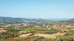 Panorama of the village Vallon Pont d`Arc and the Ardèche mount. Ains in France Stock Image