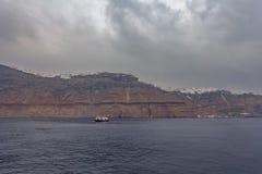 Panorama of the villages of Imerovigli and Kondakhor, Santorini Island royalty free stock photos