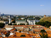 Panorama of Vilnius City Cathedral in Lithuania. Capital City of Lithuania Panorama from a Tower of Church in City Center Stock Photos