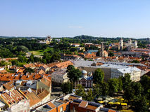 Panorama of Vilnius City in Lithuania. Capital City of Lithuania Panorama from a Tower of Church in City Center Royalty Free Stock Images