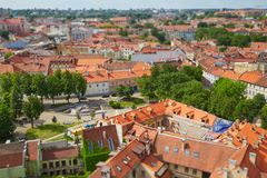 Panorama of Vilnius with tilt shift lens effect. A view from above of the old city of Vilnius with tilt shift lens effect Royalty Free Stock Photo