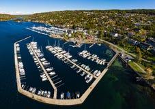Panorama vindfangeren marina in Drøbak, Norway. At a sunny september day stock photos