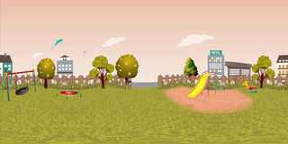 Panorama virtual reaility background of children playground in autumn Royalty Free Stock Image