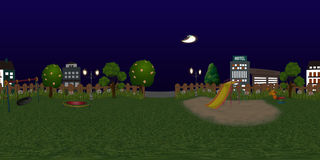 Panorama virtual reaility background of children playground at night Stock Photography