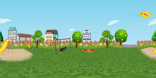 Panorama virtual reaility background of children playground in normal day Royalty Free Stock Image