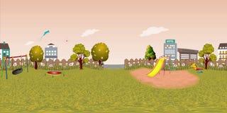 Panorama virtueller reaility Hintergrund des Kinderspielplatzes im Herbst Lizenzfreies Stockbild