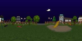 Panorama virtueller reaility Hintergrund des Kinderspielplatzes nachts Stockfotografie