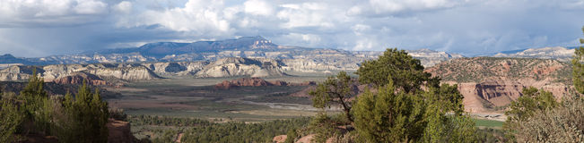 Panorama Vista of the Grand Staircase in Utah. The eroded multi-colored layers of rock laid on top of each other form the Grand Staircase at Grand Staircase Stock Photography