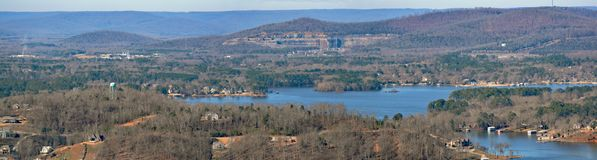 Panorama Vista of the Tennessee River Valley and Lake Guntersville royalty free stock image
