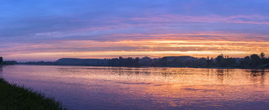 Panorama of Vistula river during sundown Stock Photography