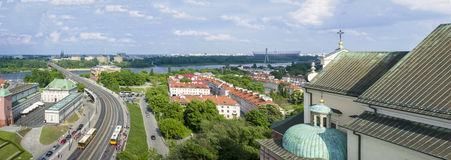 Panorama of Vistula river in Warsaw Royalty Free Stock Image