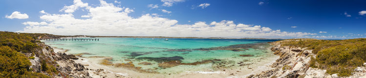 Panorama of Vivonne Bay on Kangaroo Island, South Australia. High resolution panorama of Vivonne Bay on Kangaroo Island, South Australia Stock Images