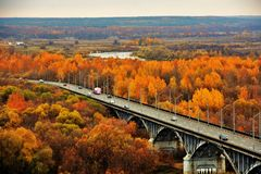 Panorama of Vladimir town, Russia. Autumn nature. stock images