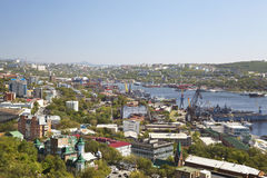 Panorama Vladivostok. Bight Złoty róg Rosja Obrazy Stock