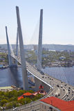 Panorama of Vladivostok. Golden bridge. Russia Stock Images