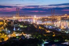 Panorama Vladivostok, Rosja przy zmierzchem zdjęcia royalty free