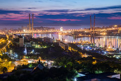 Panorama of Vladivostok, Russia at  sunset Royalty Free Stock Photos