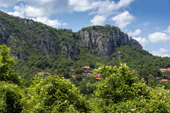 Panorama of Vlasi Village and rock formation of Jerma River Gorge,  Serbia Stock Photography