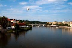 Panorama of Vltava. Vltava River panorama with bridges in Prague, the Czech Republic royalty free stock image