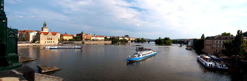 Panorama of Vltava. Vltava River panorama with bridges in Prague, the Czech Republic Stock Photos