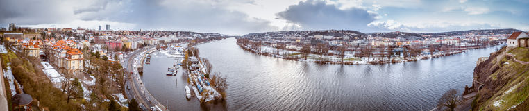 Panorama Vltave-Fluss, Prag, Tschechische Republik Stockfoto